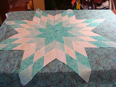 Turquoise Fairy Frost Star - Machine Pieced- Not Quilted, Made in the USA