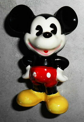 "Disney Vintage 3"" Tall  Mickey Mouse Ceramic Figure Figurine Made In Japan"