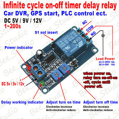5V 9V 12V Infinite Cycle Loop Timer Delay Time Turn ON OFF Relay Switch Module