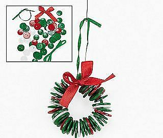 Button Wreath Ornament Christmas Craft Kit - Makes 12
