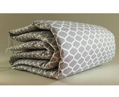 Gooseberry Baby Cot Crib Bumper Cotton Grey Quatrefoil 210 x 30 cm