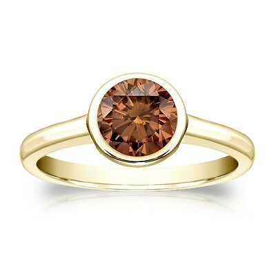 3 Ct Round Brown Solitaire Bezel Engagement Wedding Ring Real 14K Yellow Gold