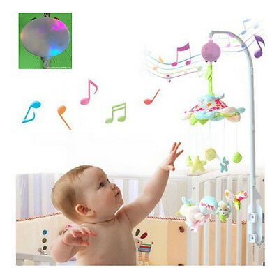 LED 12 Melodies Baby Pink Mobile Toy Crib Bed Bell Autorotation Music Box Songs
