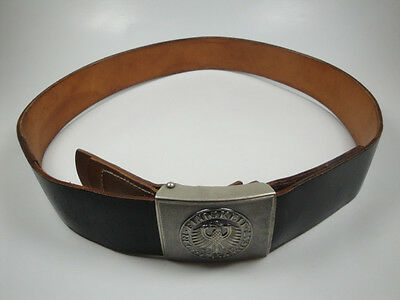 "German Army Leather Belt With Belt Buckle 39.37 "" / 100 cm Strong Leather  *WOW*"