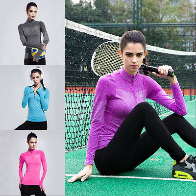Womens Quick-dry Yoga Fitness Coat Running Sports Half Zipper Choker Sweatshirt