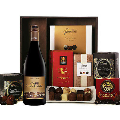 The Hamper Emporium – Chocolates & Red Shiraz Hamper Gift Box Wine Chocolate