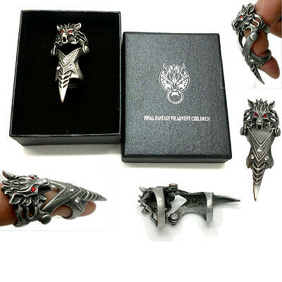 Anime Final Fantasy Wolf Head Metal Finger Ring Knuckle Ring Cosplay Gift & Box