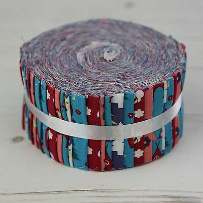 """Camping Teal 40 Jelly Roll Strips 100% Cotton Patchwork Quilt Sew 2.5"""" x 44"""""""