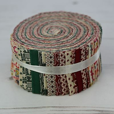 """Scandi Christmas 40 Jelly Roll Strips 100% Cotton Patchwork Quilt Sew 2.5"""" x 44"""""""
