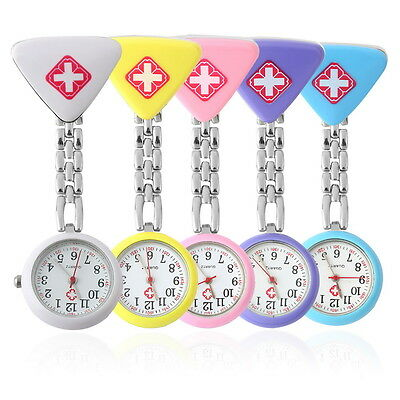 Round Triangular Nurse  Doctor Watch Hanging Pocket Clip-on Time Piece New FE