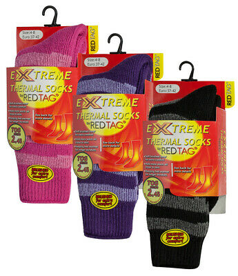 RED TAG Ladies Womens Extreme Thermal Socks Striped TOG 2.45 Warm Winter