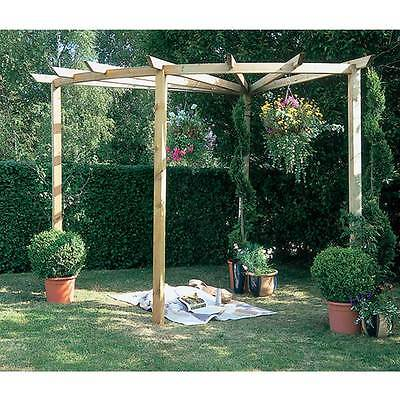 Wooden Radial Pergola 90° Garden Structure Outdoor Feature Frame