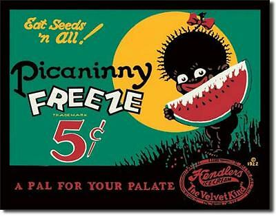 Picaninny Freeze Hendlers Ice Cream 5 Cents Watermelon Seeds Tin Metal Sign