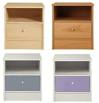 1 Drawer Bedside Chest Bedside Cabinet Wood Effect or White With Gloss Drawer