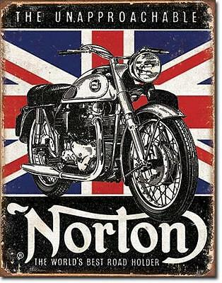 Norton Unapproachable Motorcycles World's Best Road Holder Tin Metal Sign