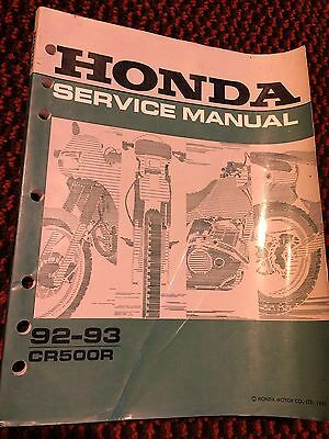 Genuine Honda CR500R 1992-1993 Workshop Service Manual Book 61ML301
