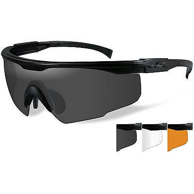 Wiley X PT-1 Military Tactical Shooting Sunglasses Glasses PT-1SCL 3 Lens Kit
