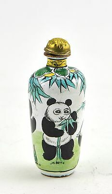 Vintage Chinese Enamel Copper Snuff Bottle Hand painted - Playful Panda Bear