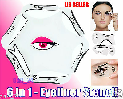 6 in 1 EYELINER Stencil Set Makeup Guide Quick Cat Eye Liner kit Tool Liquid UK