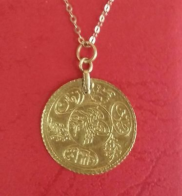 Antique Ottoman Empire / Turkey Old Solid Gold Coin 20 K Hand Made Pendant