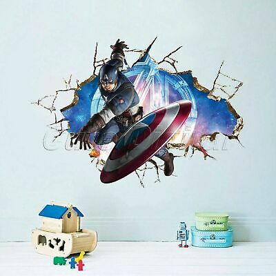 3D Avengers Captain America Kids Boy Bedroom Wall Sticker Decal Home Mural Decor