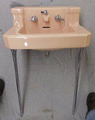 Vtg Sun Tan Farmhouse Bathroom Sink Chrome Legs Old Standard Plumbing 1550-16