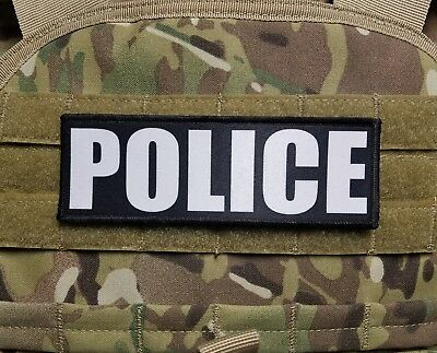2x6 Police Black White Chest Rig Plate Carrier Body Armor Morale Patch Hook