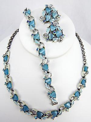 Vintage Thermoset Lucite Blue Heart & AB Rhinestone Necklace Earrings & Bracelet