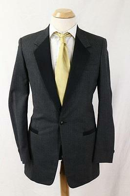 Mens After Six VTG Formal Tuxedo Jacket 1 button Charcoal Black 38 XLong