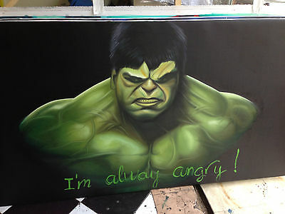 Oil Painting 100% Hand Made Spiderman Vs IncrediIble Hulk Marvel ON Canvas