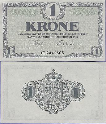 Denmark 1 Krone Banknote 1921 About Uncirculated Condition Cat#12-G-13054