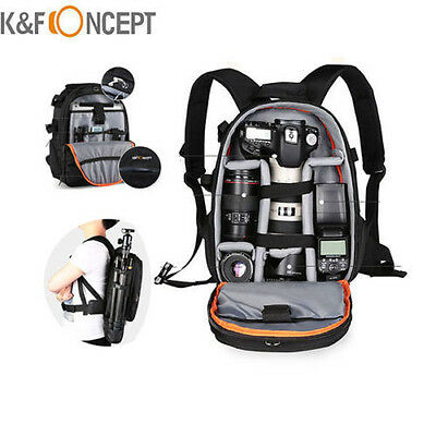 K&F Concept Camera Backpack Bag Waterproof for Canon Nikon DSLR Free Rain Cover