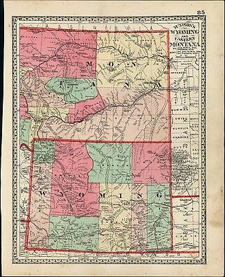 Montana Wyoming very detailed interesting c.1882 vibrant hand color old map