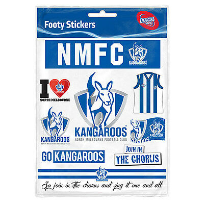 Official AFL North Melbourne Kangaroos Footy Stickers Sticker Sheet Pack