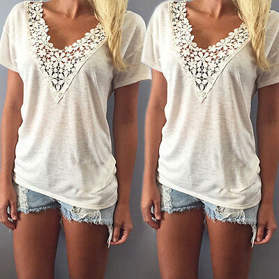 Women's Summer Blouse Lace Floral Cotton Short Sleeve Casual Tank Tops T-Shirt