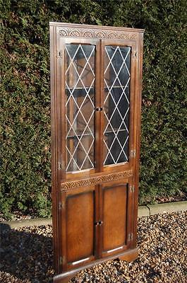 Smashing Vintage Glazed Leaded Corner Cabinet - Full of Old Charm