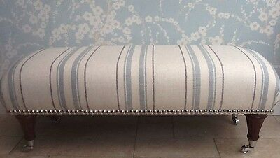 A Quality Long Footstool In Laura Ashley Hadley Seaspray Fabric
