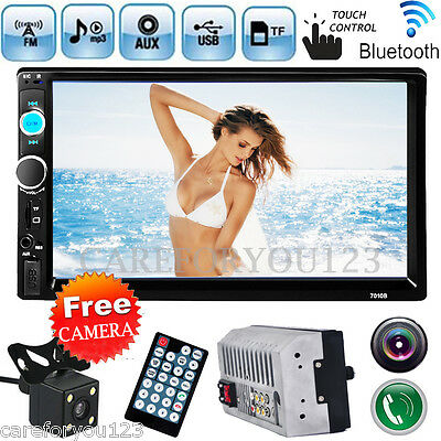 "7"" Double 2Din In Dash Car Stereo MP3 MP5 Player Touch Bluetooth FM Radio+Camera"