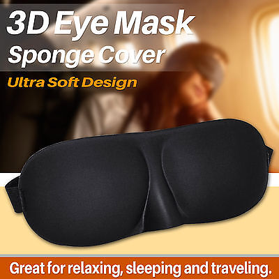 3D Soft Padded Blindfold Black Eye Mask Travel Rest Sleep Aid Shade Cover Unisex