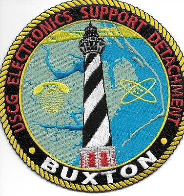 """USCG Coast Guard Patch - Electronics Support Det., Buxton (5"""" round) (fire)"""