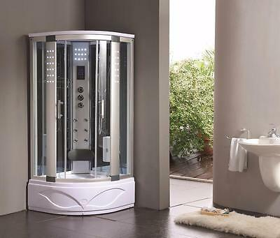 900mm Quadrant Steam Shower Enclosure Cubicle All in One Combination Tray Doors