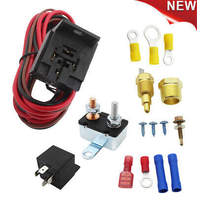 """Electric Radiator Engine Fan Thermostat Temperature Switch Relay Kit 3/8""""327 350"""