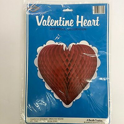 Vintage Beistle 1980 Valentine Heart Art Tissue 13 Inches Red Honeycomb NOS
