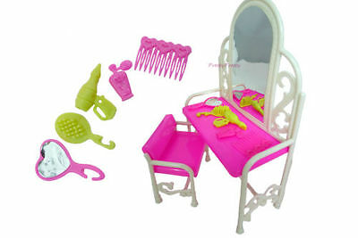 Lovely Barbie Sindy Doll Furniture Dressing Table, Chair & Accessories Uk Seller