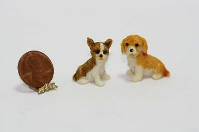 Dollhouse Miniature 1:12 Scale Set of Two Brown Tan and Cream Dogs or Puppies