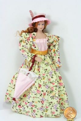 Dollhouse Miniature  Victorian Lady  Doll in a Cream Floral Dress with Pink Hat
