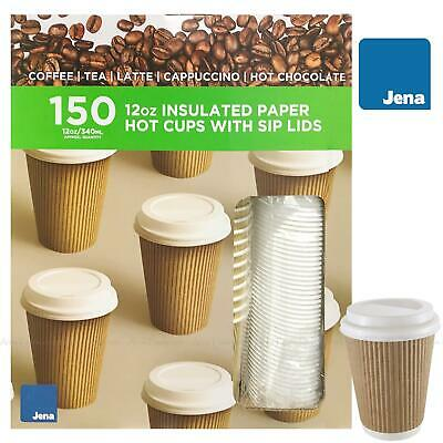 Jena Disposable Insulated Hot Paper Coffee Tea Cups + Sip Lids 12oz -Pack of 150