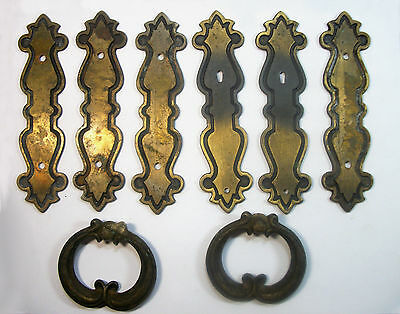 6 Vintage Brown Drawer Handle Plates & 2 Pulls Made By National Lock Co