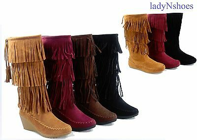 NEW Women's Fringe Zip Round Toe Moccasin Flat & Wedge Boots Shoes Size 5.5 - 10
