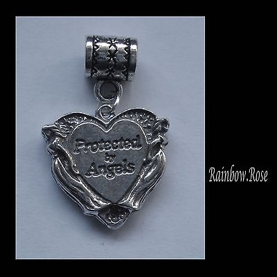 PEWTER CHARM suit European Bracelet #103 Protected by Angels Heart 25mm